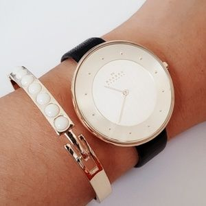 Skagen golden leather watch